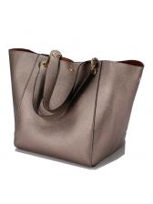 Fashion Large Capacity Solid Soft Pu Handbag