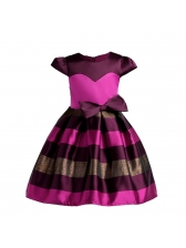 Color Block Bowknot Girls Party Dress