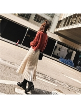 Fashion Pleated Solid All Match Elastic Long Skirt