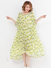 Rural Style Floral Printing Chiffon Two Pieces Dress