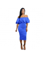 Boat Neck Flouncing Sexy Pencil Dress for Party