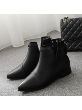 V Cut Rivets Low Heel Pointed Toe Black Boots