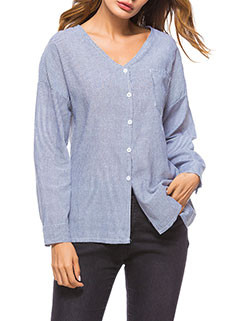 Chest Pocket V Neck Striped Ladies Blouse