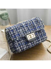 Classical Hasp Woolen Square Shape Shoulder Bag