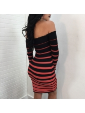 Hot Selling Boat Neck Stripe Fitted Wrap Dress