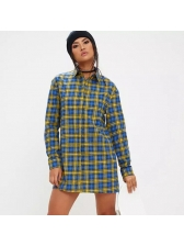 Classical Look Single Breasted Plaid Long Blouse