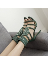 Zip Back Faux Diamonds Hollow Out Stiletto Sandals