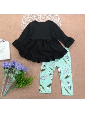 Spring Crew Neck Ruffles Top With Printing Pants For Girls