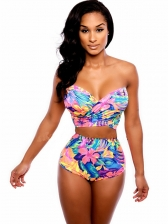Hot Selling Colorful Strapless Print Swimsuit Set