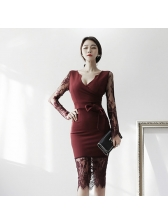 Office Lady Lace Patchwork V-Neck Fitted Midi Dress