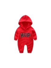 Lovely Letter Embroidery Hooded Romper For Infant