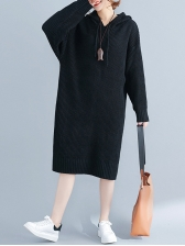 Korean Concise Style Loose Hooded Dress