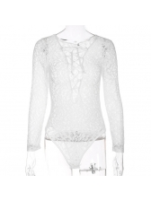 New Arrival V Neck Hollow Out Bandage Lace Bodysuit