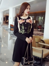 Flower Embroidered Long Sleeve Pretty Dress