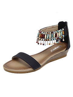 National Style Beading Open Toe Wedge Sandals