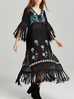 Exquisite Design Embroidery Tassel Long Sleeve Dress