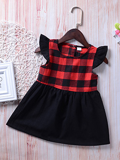 Lovely Plaid Dress For Infant Girls