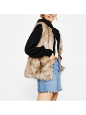 Casual Solid Cardigan Faux Fur Waistcoat (3-4 Days Delivery )