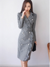 Korean OL Houndstooth Flounced Fitted Pencil Dress