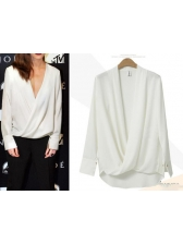 European Style V Neck Solid Loose Blouse