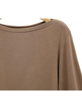 Simple Design Crew Neck Solid Flare Sleeve Shirt