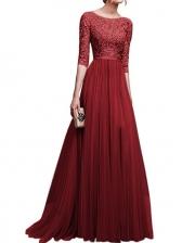 Fashion 3/4 Sleeve Slit Patchwork Chiffon Evening Dress