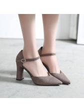 All Match Solid Ankle Strap Pointed Toe Pumps