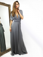 Euro Backless Solid Bandage Long Evening Dress