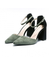 Korean Style Contrast Color Pointed Toe Pumps