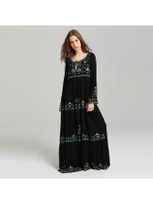 Euro Crew Neck Embroidery Black Loose Long Dress