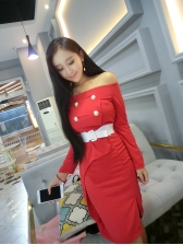 New Chic Boat Neck High Waist Belted Dresses