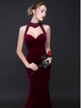 Chic Backless Halter Neck Sexy Fishtail Dress