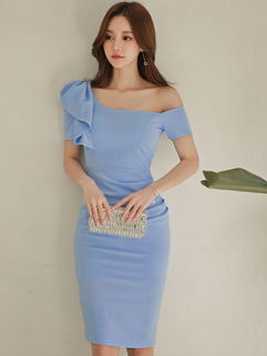 Elegant Ruffle Short Sleeve Sheath Dress