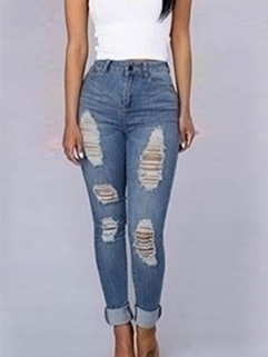 Factory Outlet Destroyed Light Blue Tapered Jeans