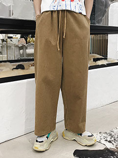 Casual Corduroy Wide Leg Pants For Men