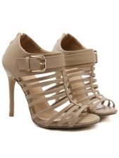 Euro Style Hollow-out Zipper All Match High Heel