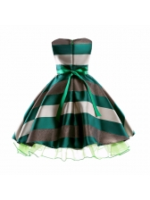 Hot Selling Striped Bow Mesh Party Dress for Girl