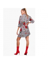 Newly Spring Flower Plaid Self Tie Shirt Dress (3-4 Days Delivery)
