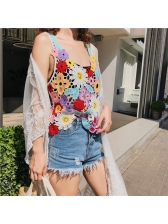 Color Block Hollow Out Lace Tank For Women