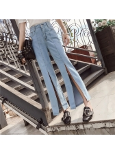 Latest Fashion Slit Wide Leg Jeans
