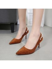 Euro Style Beading Pointed Toe Suede Pumps
