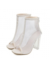 Euro Style Hollow Out Crystal Chunky Heel Sandals