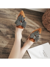 Rivet Bow Pointed Woman Street Slippers