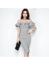 Off Shoulder Houndstooth Short Sleeve Sheath Dress