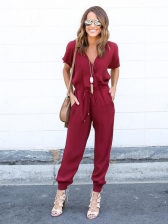 Euro V Neck Bandage Jumpsuit For Women