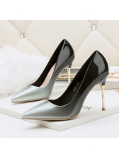 Gradient Color PU Sexy Pointed Pumps for Party