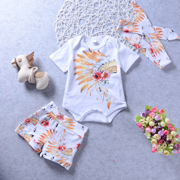 Cartoon Print Floral Girl Suits With Headband