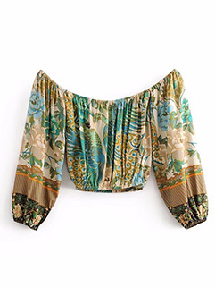 Peacock Printed Boat Neck Long Sleeve Blouse (3-4 Days Delivery)