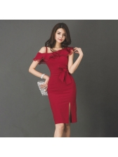 Sexy Red Bow Ruffle Split Sleeveless Cocktail Dresses