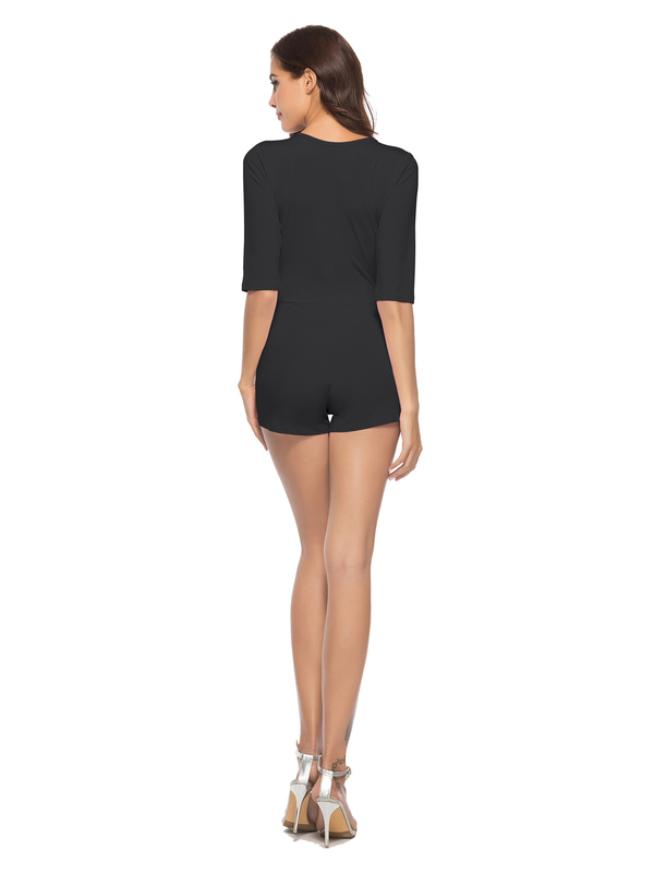 Deep V Neck Solid Bodycon Rompers